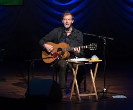 NEW YORK, NY - SEPTEMBER 22:  Justin Vernon of Bon Iver performs on stage during the United Nations 2014 Equator Prize Gala at Avery Fisher Hall, Lincoln Center on September 22, 2014 in New York City.  (Photo by D Dipasupil/Getty Images)