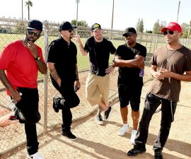 of Prophets of Rage performs outside of the California Rehabilitation Center on August 10, 2016 in Norco, California.