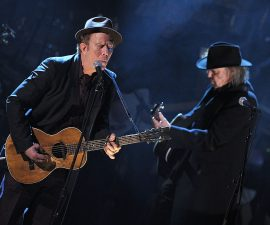 NEW YORK, NY - MARCH 14:  Inductee Tom Waits and Neil Young perform onstage at the 26th annual Rock and Roll Hall of Fame Induction Ceremony at The Waldorf=Astoria on March 14, 2011 in New York City.  (Photo by Michael Loccisano/Getty Images)
