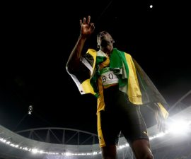 RIO DE JANEIRO, BRAZIL - AUGUST 19:  Usain Bolt of Jamaica celebrates winning the Men's 4 x 100m Relay Final on Day 14 of the Rio 2016 Olympic Games at the Olympic Stadium on August 19, 2016 in Rio de Janeiro, Brazil.  (Photo by Phil Walter/Getty Images)