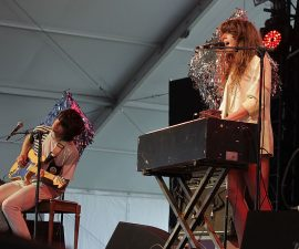 INDIO, CA - APRIL 17:  Musicians Alex Scally (L) and Victoria Legrand of the band Beach House perform during day two of the Coachella Valley Music & Arts Festival 2010 held at the Empire Polo Club on April 17, 2010 in Indio, California.  (Photo by Noel Vasquez/Getty Images)