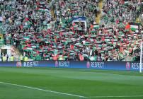 Los aficionados del Celtic desplegaron banderas de palestina durante su partido en la Champions League