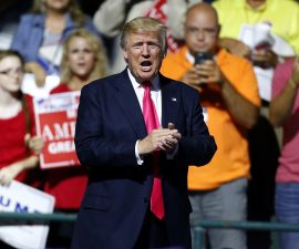 JACKSON, MS - AUGUST 24: Republican Presidential nominee Donald Trump speaks to the crowd at a rally at the Mississippi Coliseum on August 24, 2016 in Jackson, Mississippi. Thousands attended to listen to Trump's address in the traditionally conservative state of Mississippi. (Photo by Jonathan Bachman/Getty Images)