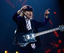 GREENSBORO, NC - AUGUST 27: Angus Young performs with AC/DC during the Rock Or Bust Tour at the Greensboro Coliseum on August 27, 2016 in Greensboro, North Carolina. (Photo by Jeffrey A. Camarati/Getty Images)