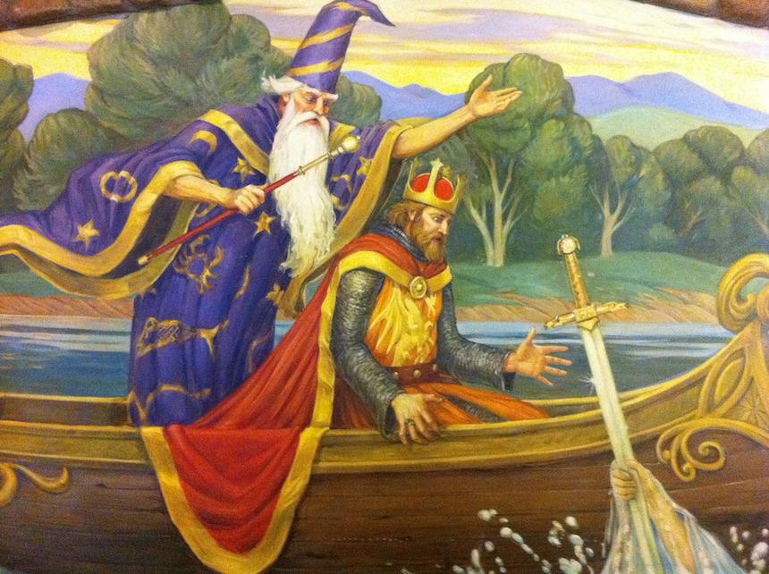 Resultado de imagen de mago merlin y arturo siendo rey