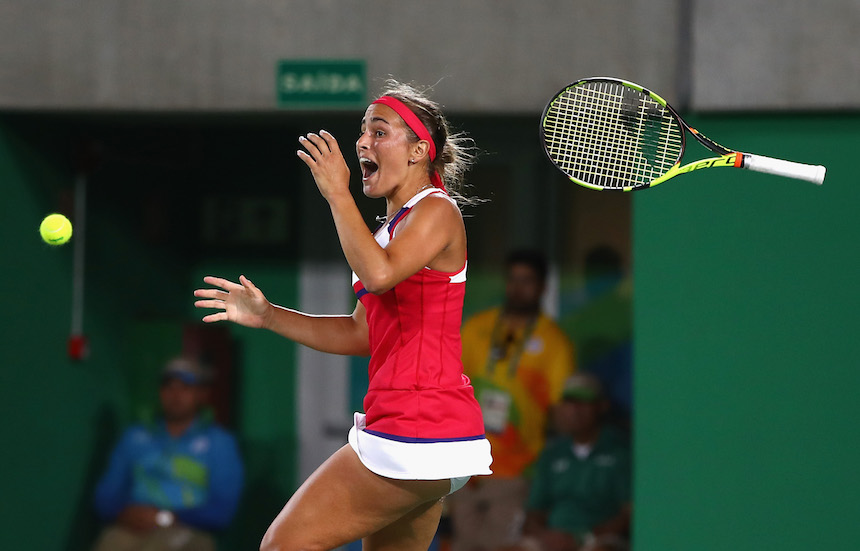 Monica Puig al momento de vencer a Angelique Kerber en la final de los Juegos olímpicos