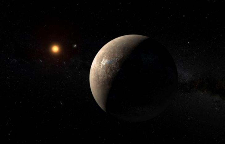 Proxima b rotando a Proxima Centauri