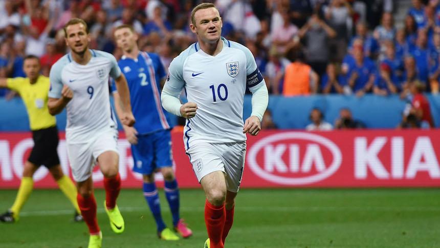 Wayne Rooney celebrando el gol contra Islandia en la Eurocopa