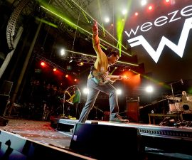 IRVINE, CA - MAY 14:  Recording artist Rivers Cuomo of music group Weezer performs onstage at KROQ Weenie Roast 2016 at Irvine Meadows Amphitheatre on May 14, 2016 in Irvine, California.  (Photo by Kevin Winter/Getty Images for CBS Radio Inc.)