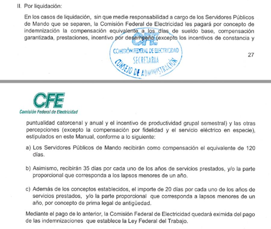 Fracción del artículo de la CFE