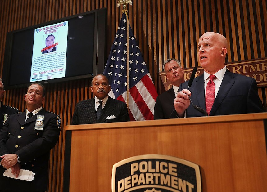NEW YORK, NY - SEPTEMBER 19: New York City Police Commissioner James O'Neill speaks at a news conference where it was announced that Ahmad Khan Rahami, the man believed to be responsible for the explosion in Manhattan on Saturday night and an earlier bombing in New Jersey, was captured on September 19, 2016 in New York City. Rahami was taken into custody on Monday afternoon following a gunfight where he was wounded by he police. (Photo by Spencer Platt/Getty Images)