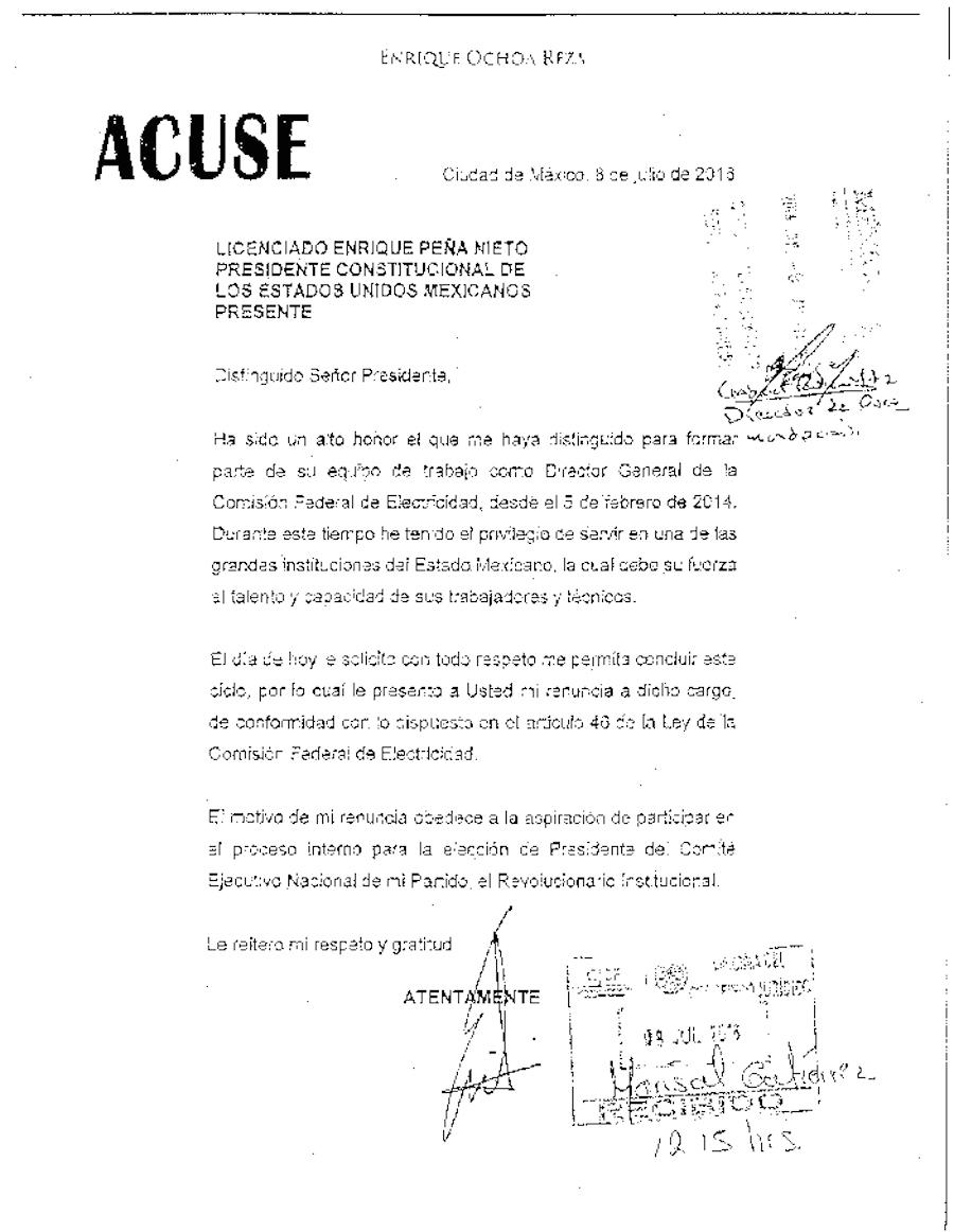 Carta de Ochoa Reza a Peña Nieto