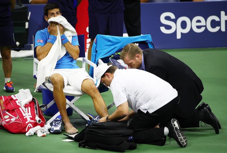 Novak Djokovic se lesiono constanetmente durante la final del US Open