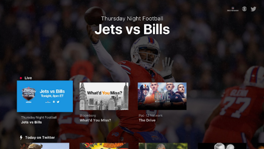 Ejemplo de transmisión en Twitter de la NFL