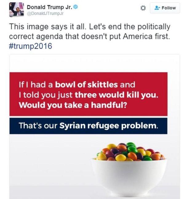 Donald Trump Jr. compara a los refugiados sirios con un puñado de dulces envenenados