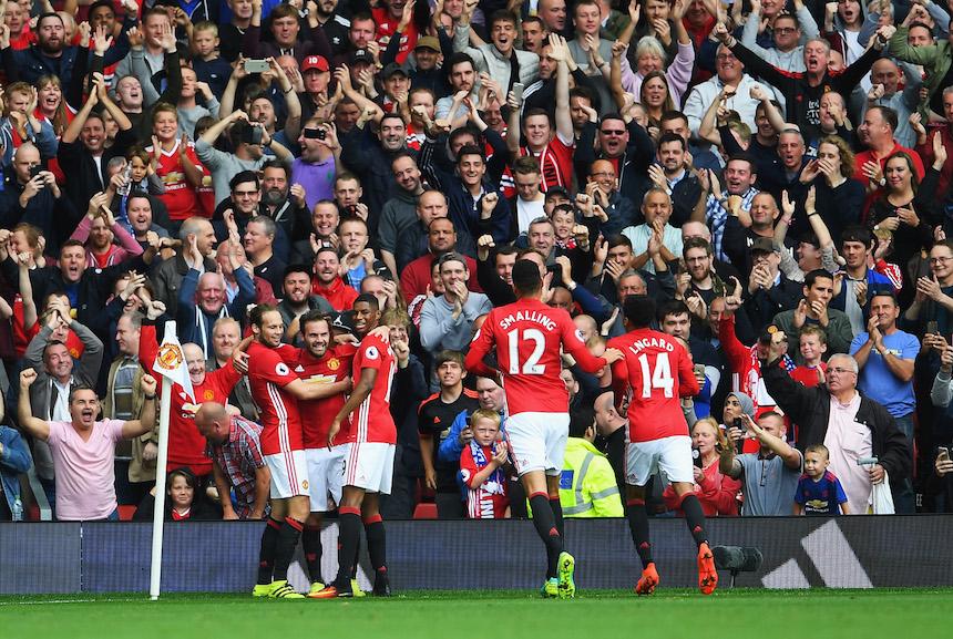Así celebraron el tercer gol del Manchester United