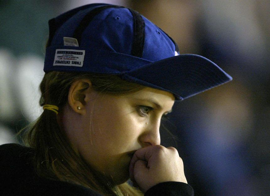 Una aficionada de los Chicago Cubs estaba triste
