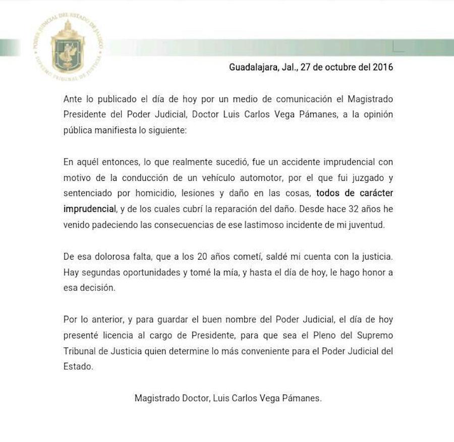 El titular de la Suprema Corte de Justicia de Jalisco pidió licencia de su cargo
