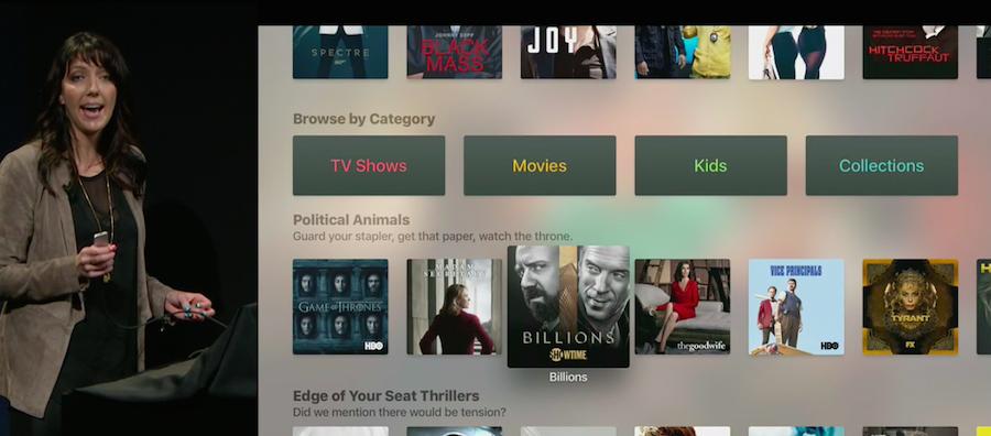 Menu de la App TV