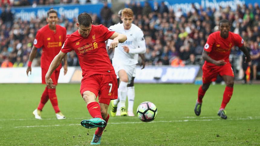 James Milner marcó el tanto que le dio los tres puntos al Liverpool