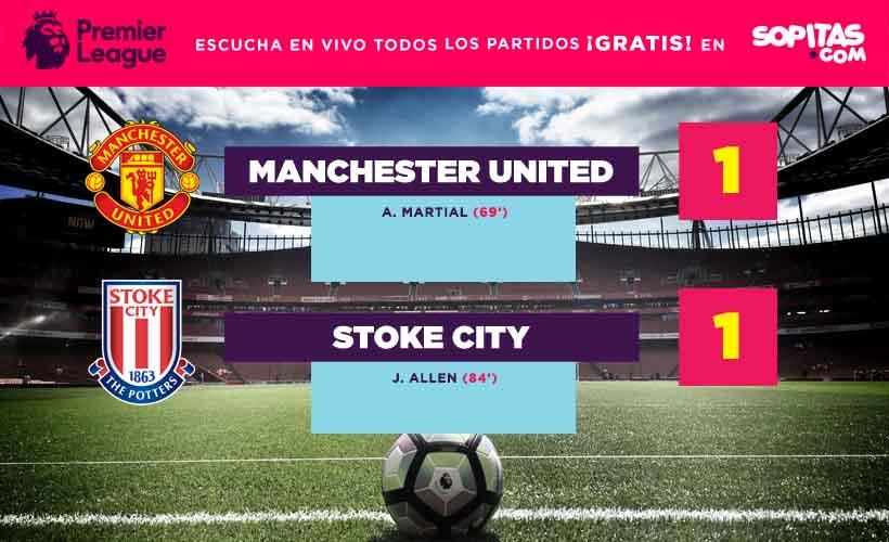 Manchester United no pudo con el Stoke City e igualó el encuentro