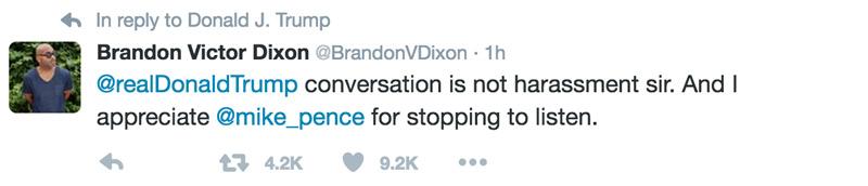 Respuesta de Dixon al tuit de Donald Trump
