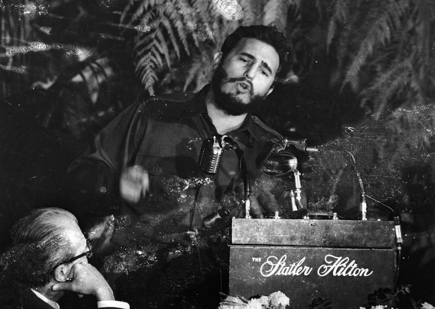 April 1959: Fidel Castro, Premier of Cuba addressing the American Society of Newspaper Editors during a meeting in Washington, USA. (Photo by Keystone/Getty Images)