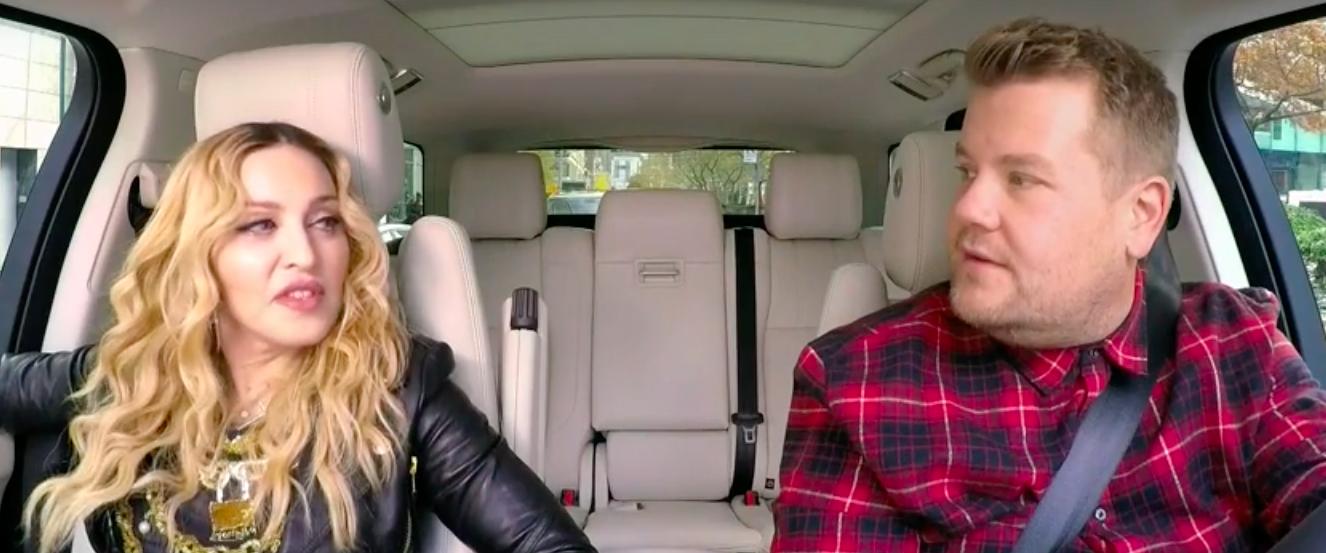 Madonna se sube al carpool karaoke de James Corden