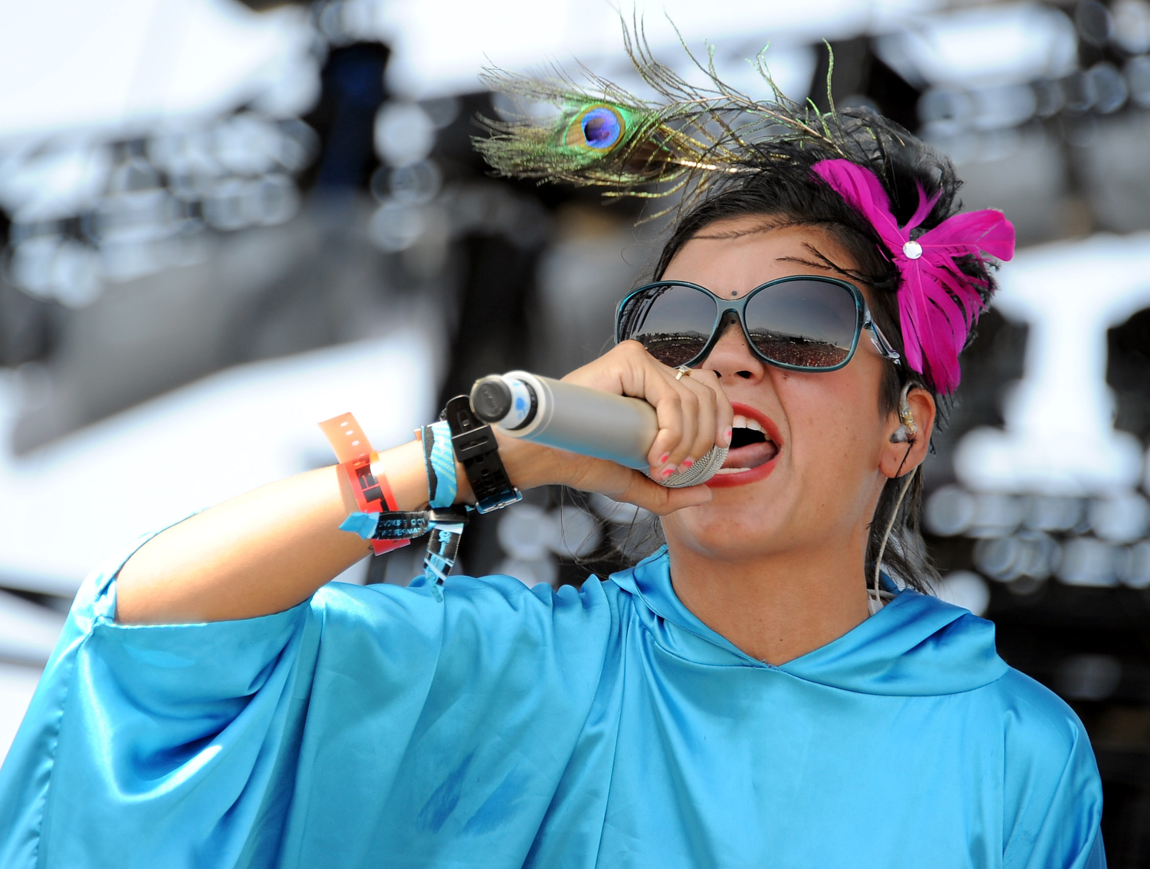 INDIO, CA - APRIL 16:  Singer Liliana Saumet of Bomba Estereo performs during Day 2 of the Coachella Valley Music & Arts Festival 2011 held at the Empire Polo Club on April 16, 2011 in Indio, California.  (Photo by Kevin Winter/Getty Images)