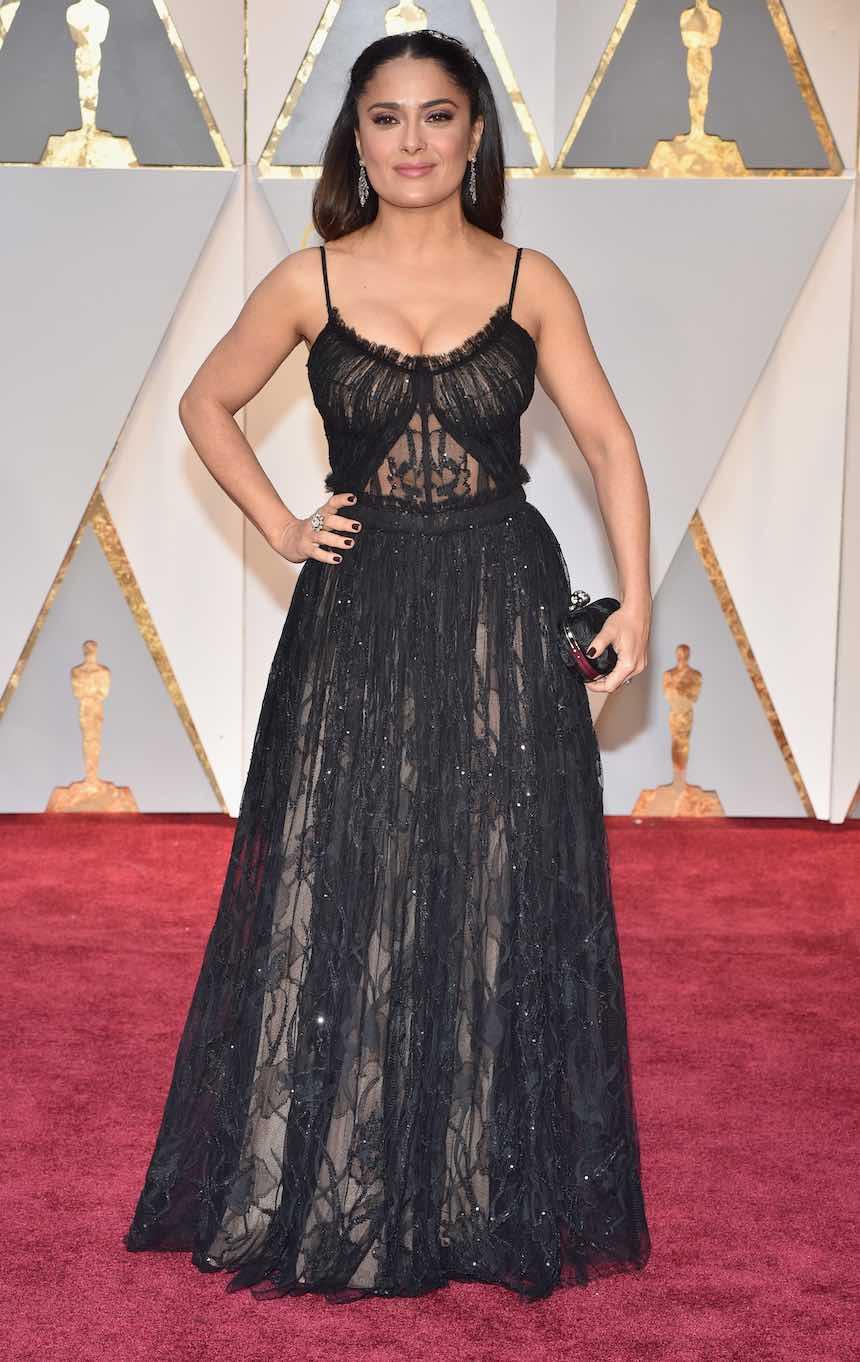 Salma Hayek en la Alfombra Roja del Oscar