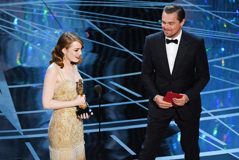 Leonardo Di Caprio Emma Stone Oscar