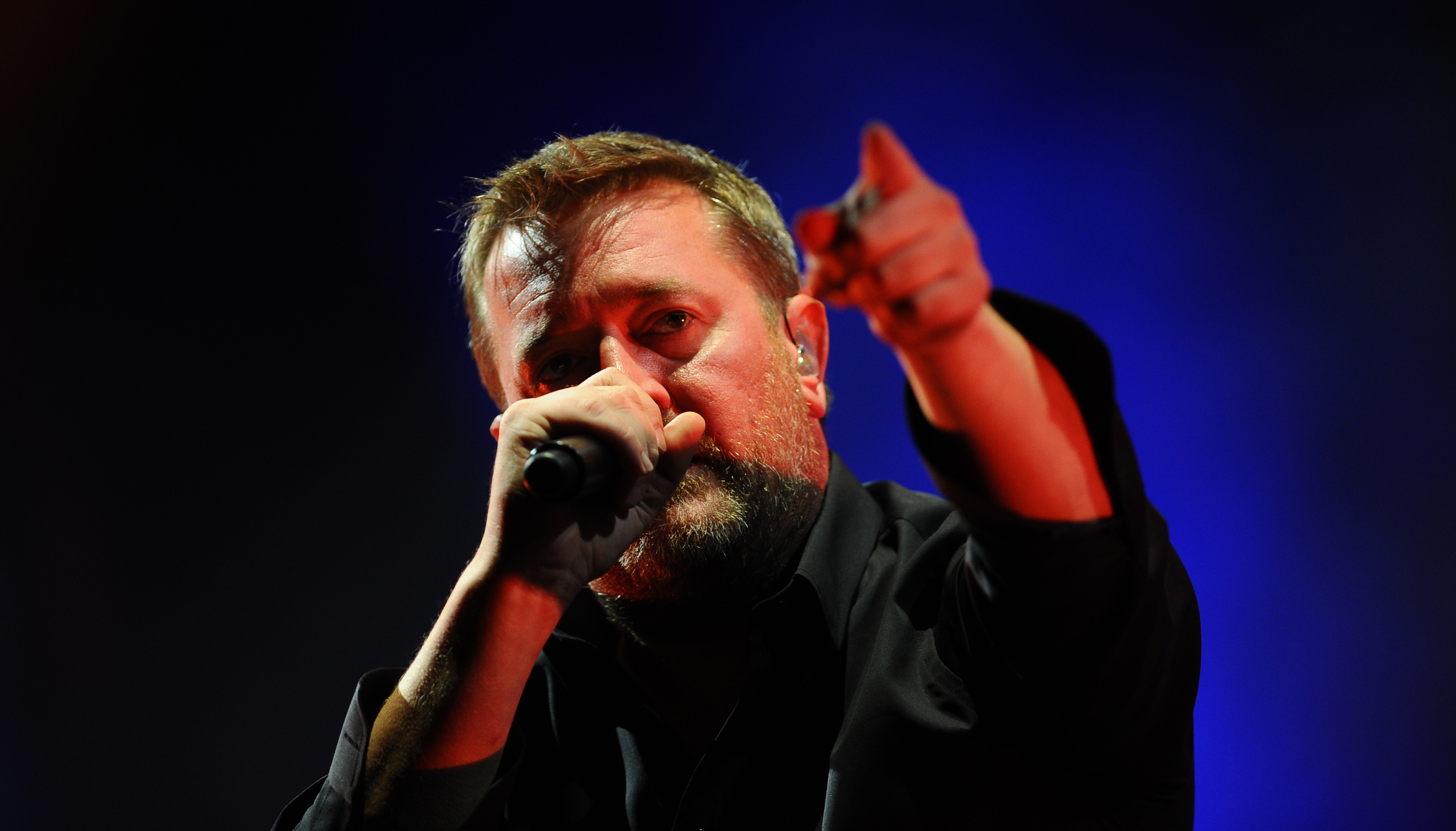 CHELMSFORD, ENGLAND - AUGUST 16: Guy Garvey of Elbow performs on Day 1 of the V Festival at Hylands Park on August 16, 2014 in Chelmsford, England. (Photo by Stuart C. Wilson/Getty Images)
