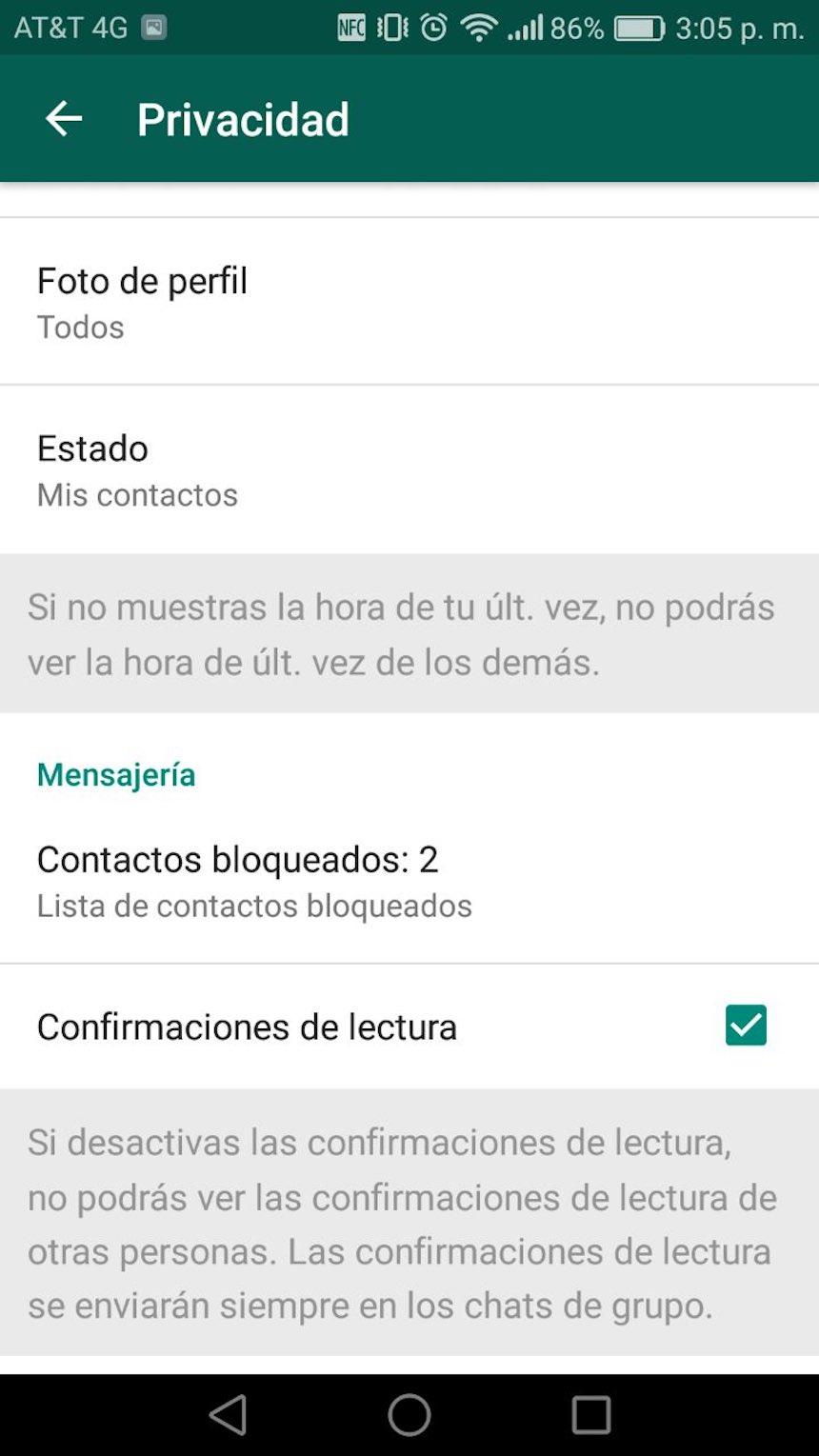 Confirmación de lectura - WhatsApp