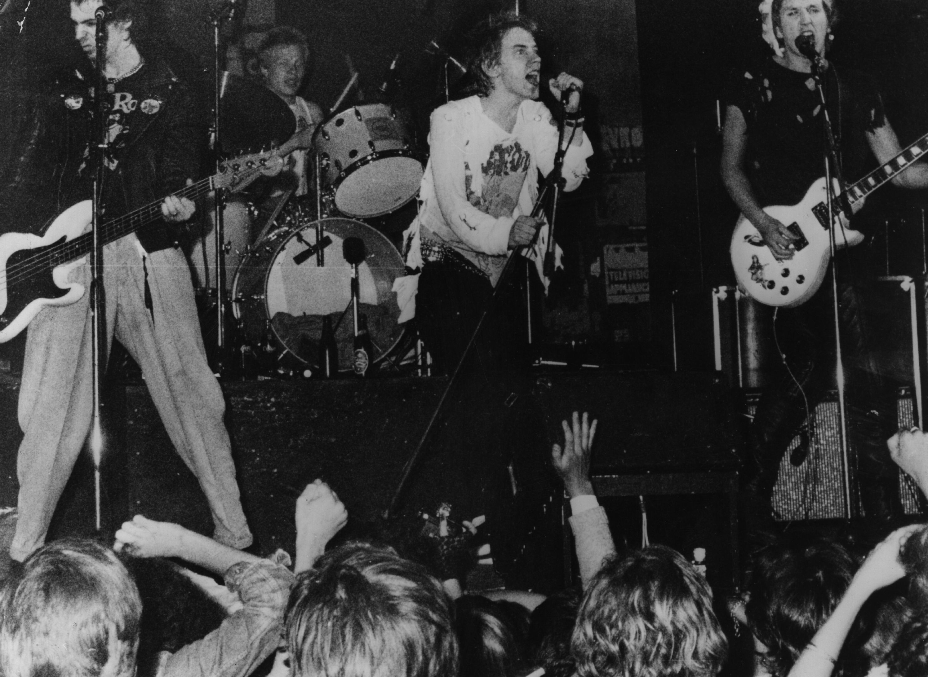 27th July 1977: Infamous British punk rock group The Sex Pistols playing live in Copenhagen. From left to right; Sid Vicious, Paul Cook, Johnny Rotten and Steve Jones. (Photo by Keystone Features/Getty Images)