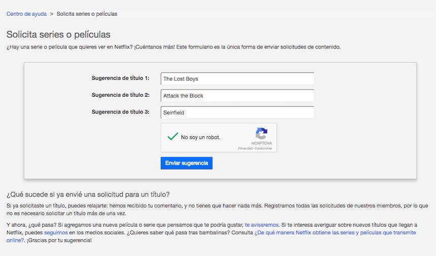 Peticiones de Netflic
