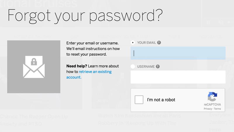 Forgot Password MySpace