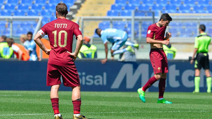 Triste tarde para Francesco Totti en su último Derbi de Roma