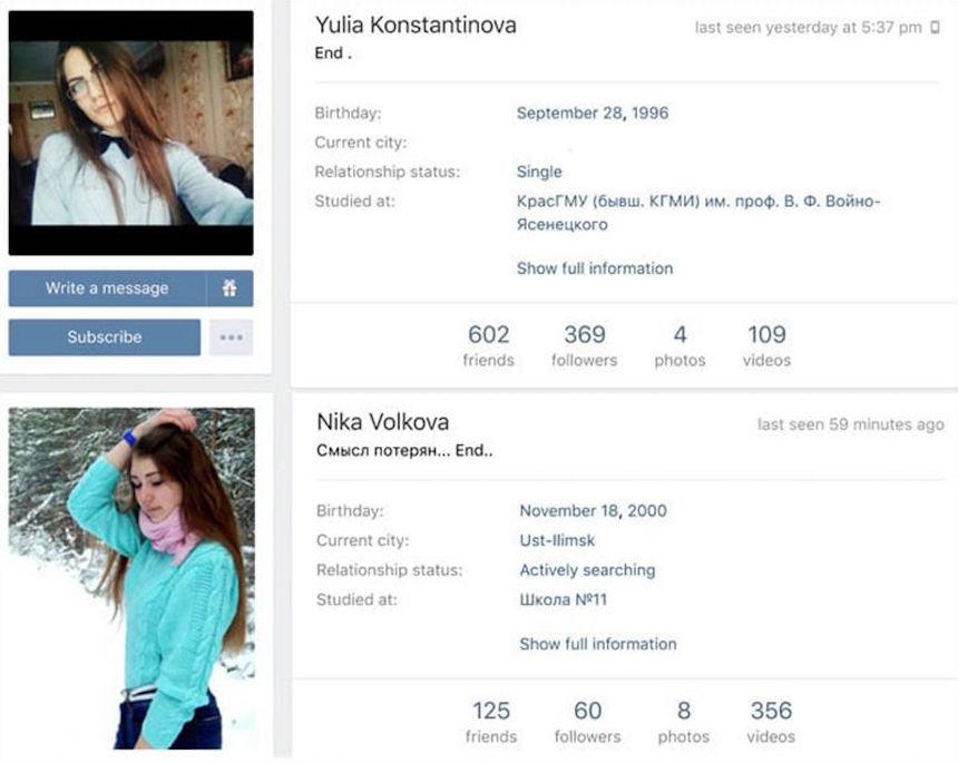 Perfil de las adolescentes rusas - Ballena azul