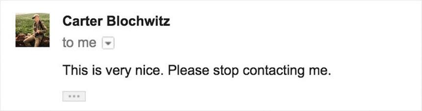 Respuesta de Carter Blochwitz
