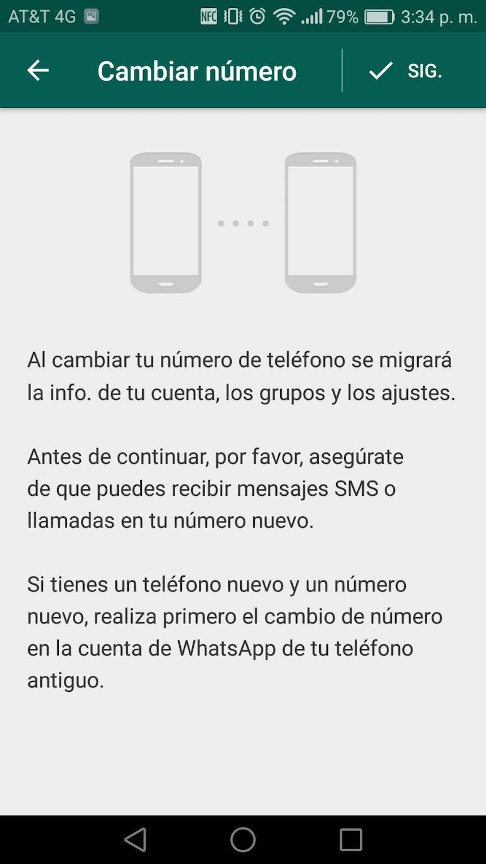 WhatsApp - Cambio de número