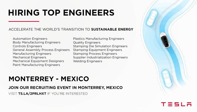 Oferta de trabajo Tesla en Mexico