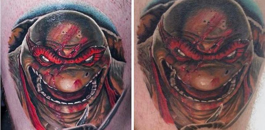Antes y después - Tatuaje de Rafael