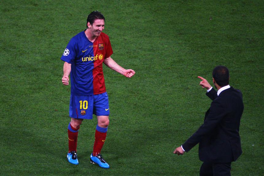 Josep Guardiola y Lionel Messi
