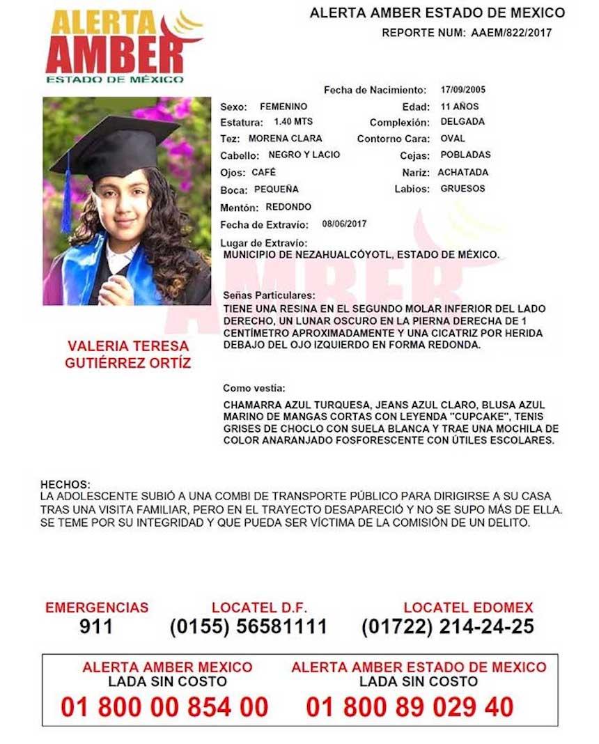 Alerta Amber: Valeria, niña de 11 años