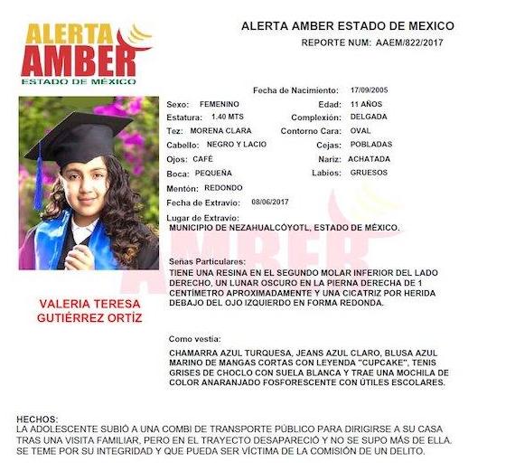 Alerta Amber de Valeria Teresa
