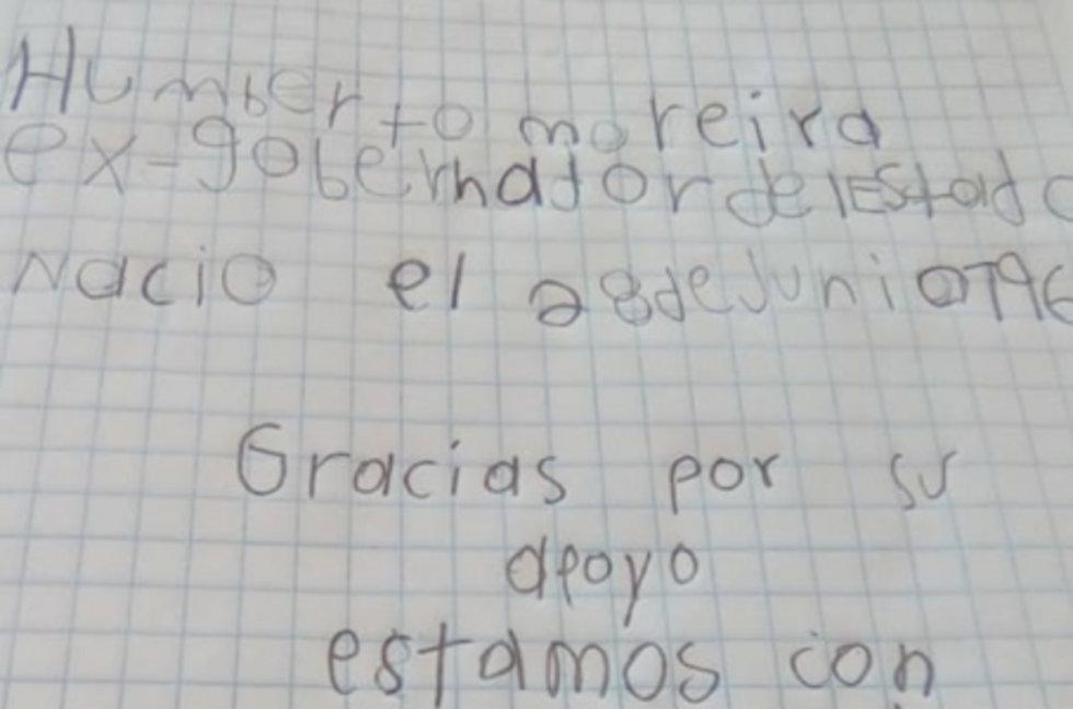 mensajes de niños a Moreira