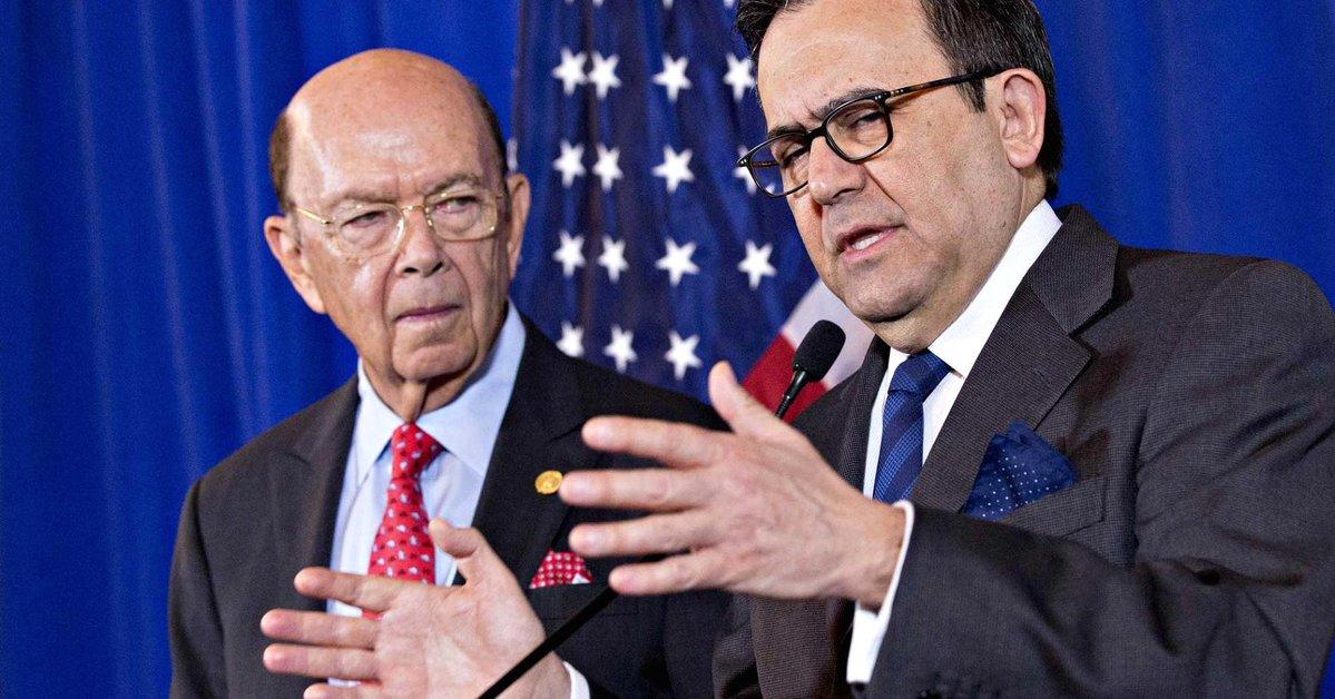 El secretario de Comercio de Estados Unidos, Wilbur Ross, y el de Economía de México, Ildefonso Guajardo