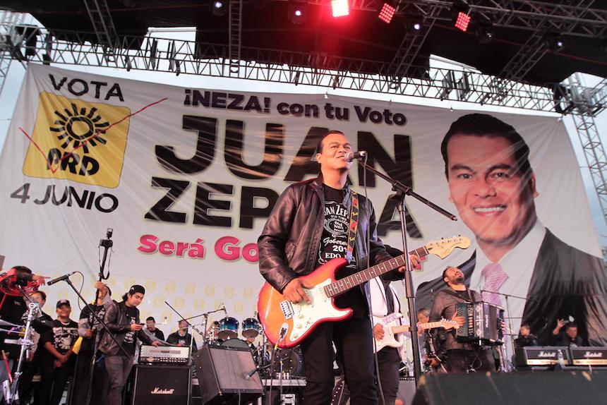 Juan Zepeda en su cierre de campaña en el Edomex