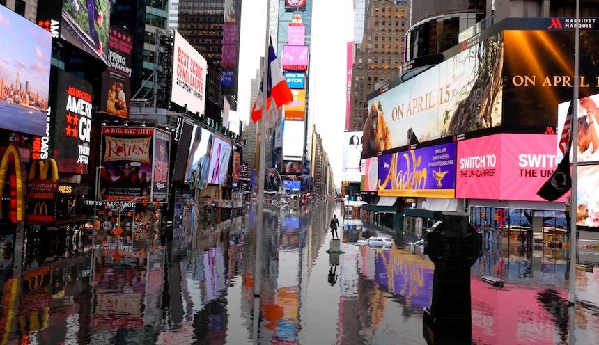 Artistas hacen video de Nueva York inundada