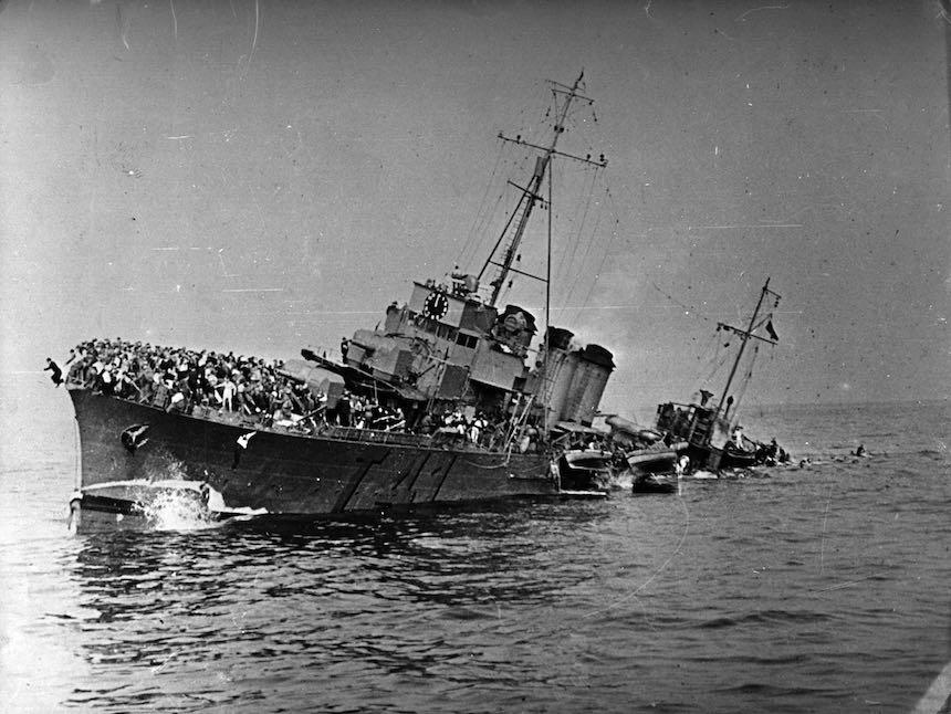 Batalla de Dunkerque - Barco hundido